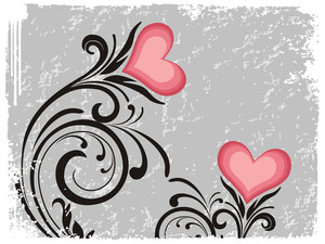Creative Floral Pattern With Pink Heart