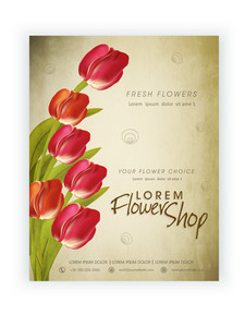 Creative Flowers Shop flyer banner or template with fresh roses.