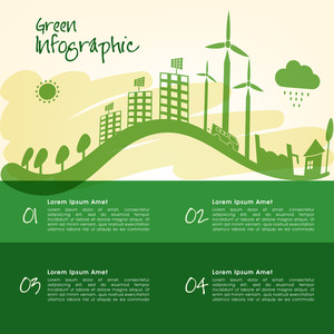 Creative Flyer Banner or Template with view of a green urban city for Ecology concept.