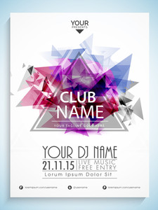 Creative flyer template or banner design decorated with colorful splash for Musical Party and Club.