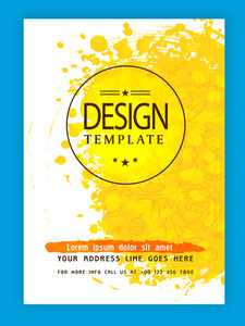 Creative flyer template or banner design decorated with floral pattern and yellow color splash.