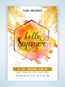 Creative flyer template or banner design with colorful splash for Summer Vacation.