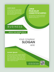 Creative green and white flyer banner or template design for business or corporate sector.