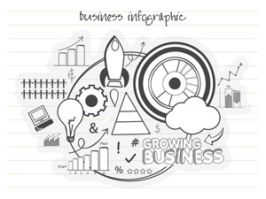 Creative growing Business Infographic elements set for your professional reports and presentation.