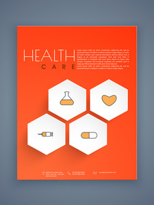 Creative Health Care flyer template or brochure presentation with medical icons.