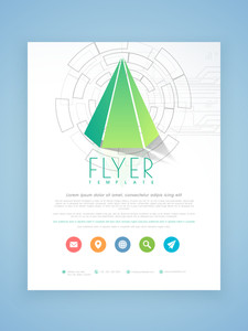 Creative hi-tech business flyer brochure or template design with colorful web icons.