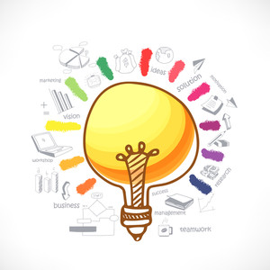 Creative idea concept business infographic layout with various elements and colorful splash on white background.