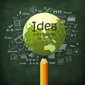 Creative idea infographic elements with illustration of a shiny globe on stylish green background.
