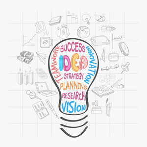 Creative illustration of a bulb for Idea concept with various business infographic elements on notebook paper background.