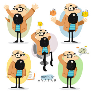 Creative illustration of a business man avtar in different pose and different business elements for your print