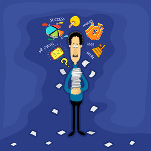 Creative illustration of a business man holding books with various infographic elements on blue background.