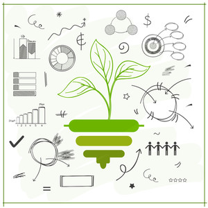 Creative illustration of a green plant on various Business Infographic elements decorated background for Ecology concept.