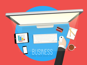 Creative illustration of a human hand working on desktop for your business.