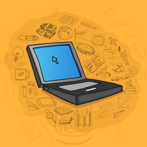 Creative illustration of a laptop with various business infographic elements on orange background.