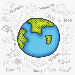 Creative illustration of a mother earth globe with various business infographic elements created on notebook paper background.