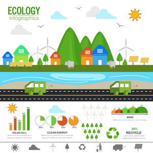 Creative illustration of a urban city rural town and various statistical elements for Ecological Infographic concept.