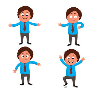 Creative illustration of a young businessman character in different pose.