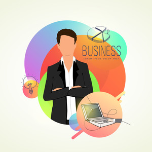 Creative illustration of a young businessman with business elements on abstract colorful background. Can be used as sticker