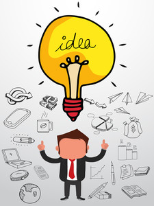 Creative illustration of a young businessman with various business infographic elements and bulb for Idea concept.