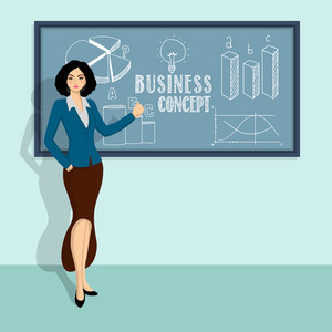 Creative illustration of a young businesswoman presenting best information and ideas
