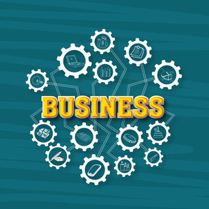 Creative illustration of business infographic elements on cogwheel.