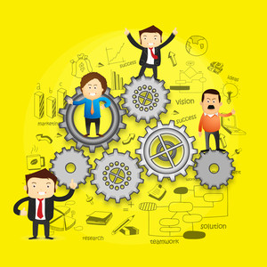 Creative illustration of Business People on cog wheels with infographic elements on yellow background.