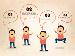 Creative illustration of businessman in different pose