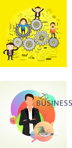 Creative illustration of different business man with business elements on yellow background.