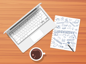 Creative illustration of laptop tea cup and various business infographic elements on paper with pencil.