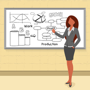 Creative illustration of young businesswoman presenting