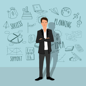Creative illustration of young stylish businessman with various set of business infographic elements.