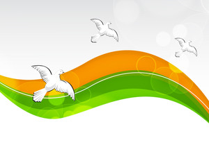 Creative Indian Flag Color Background With Wave