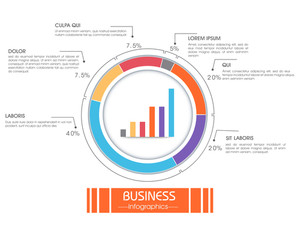 Creative infographic element with colorful statistical graph and bars for your Business.