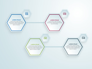 Creative infographic elements in hexagon shape on shiny background for Business.