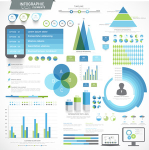 Creative Infographic elements set with various statistical graphs charts and digital devices presentation for your business.