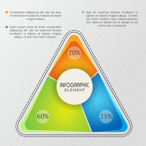 Creative infographic elements with colorful statistical triangle for your Business presentation.