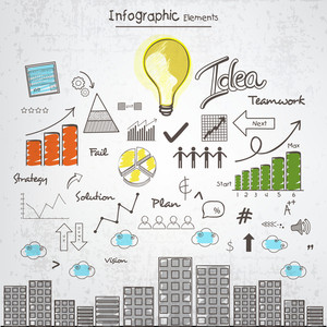 Creative Infographic elements with idea concept for business purpose.