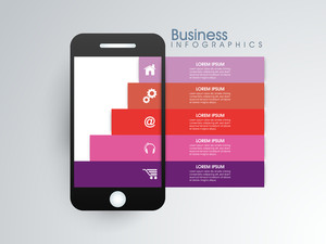 Creative infographic papers with web symbols on smartphone screen for Business purpose.
