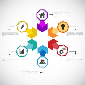 Creative infographic template layout with different web symbols for Business.