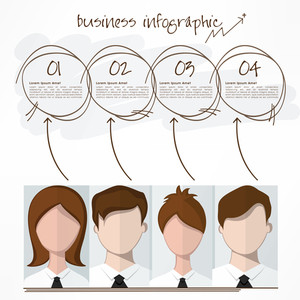 Creative infographic template with illustration of young business people and space for your message.