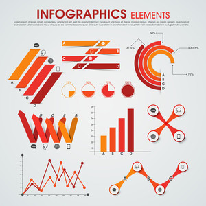 Creative infographics elements set to presents business data and growth statistics on grey background.