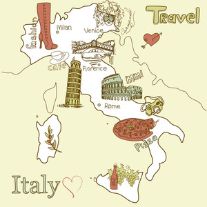 Creative Map Of Italy. Sightseeing In Italy