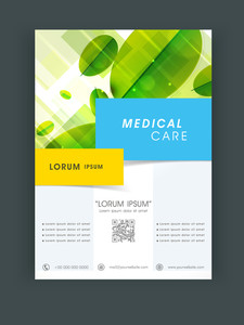 Creative Medical Care flyer banner or template design with green leaves.