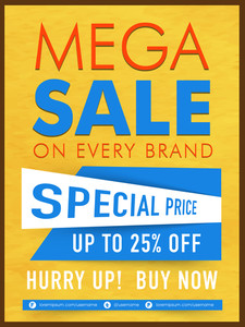 Creative Mega Sale Template Banner or Flyer design with special discount offer on Every Brand.