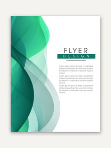 Creative one page Business Flyer Banner or Template with glossy abstract waves.