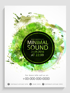 Creative Party flyer template or banner design with grungy green color spalsh.