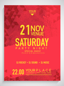 Creative Party Night flyer template or banner design decorated with abstract pattern.