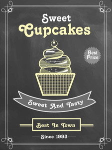 Creative price menu card design for Sweet Cupcakes in chalkboard style.