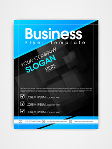 Creative professional business flyer template or brochure design in blue and black color.