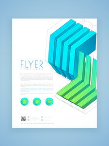 Creative professional business flyer template or brochure design with 3D arrows.